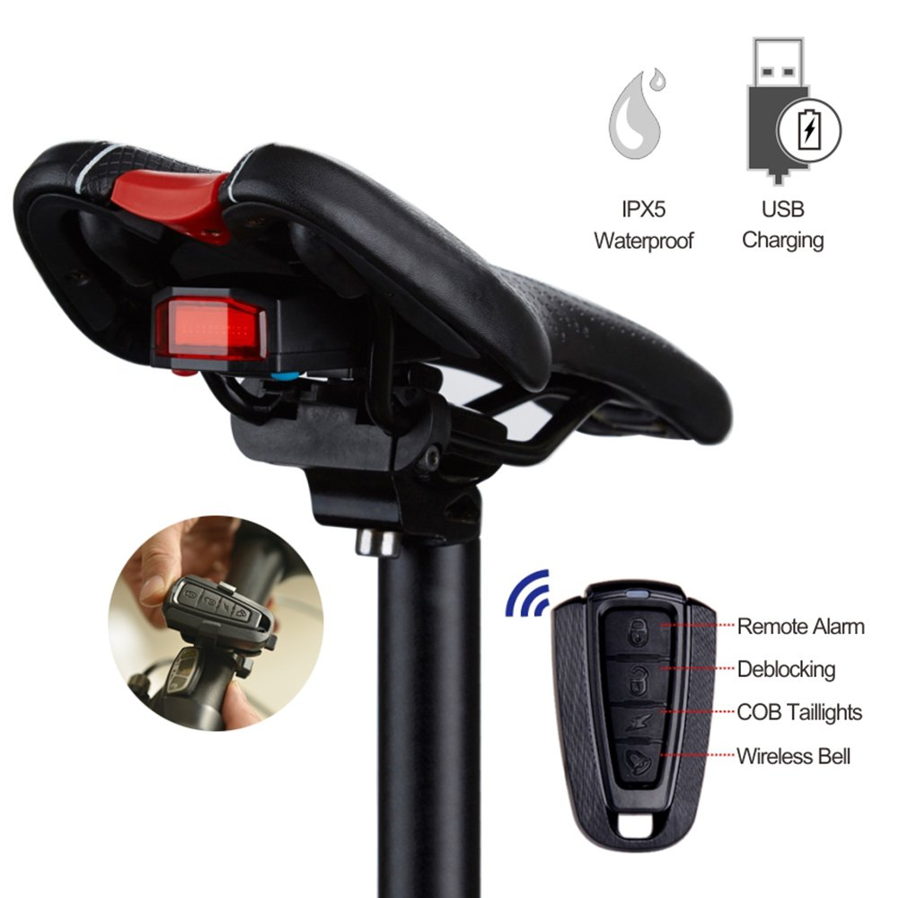 Intelligent Bike Tail Light,Wireless Anti-Theft Bicycle Alarm,USB Rechargeable Taillights,Waterproof Rear Bike LED with Remote Control and Bell for Mountain Accessories