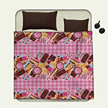 smallbeefly Sweet Decor survival blanket Candy Cookie Sugar Lollipop Cake Ice Cream Girls Designspace blanket Baby Pink Chestnut Brown Caramel