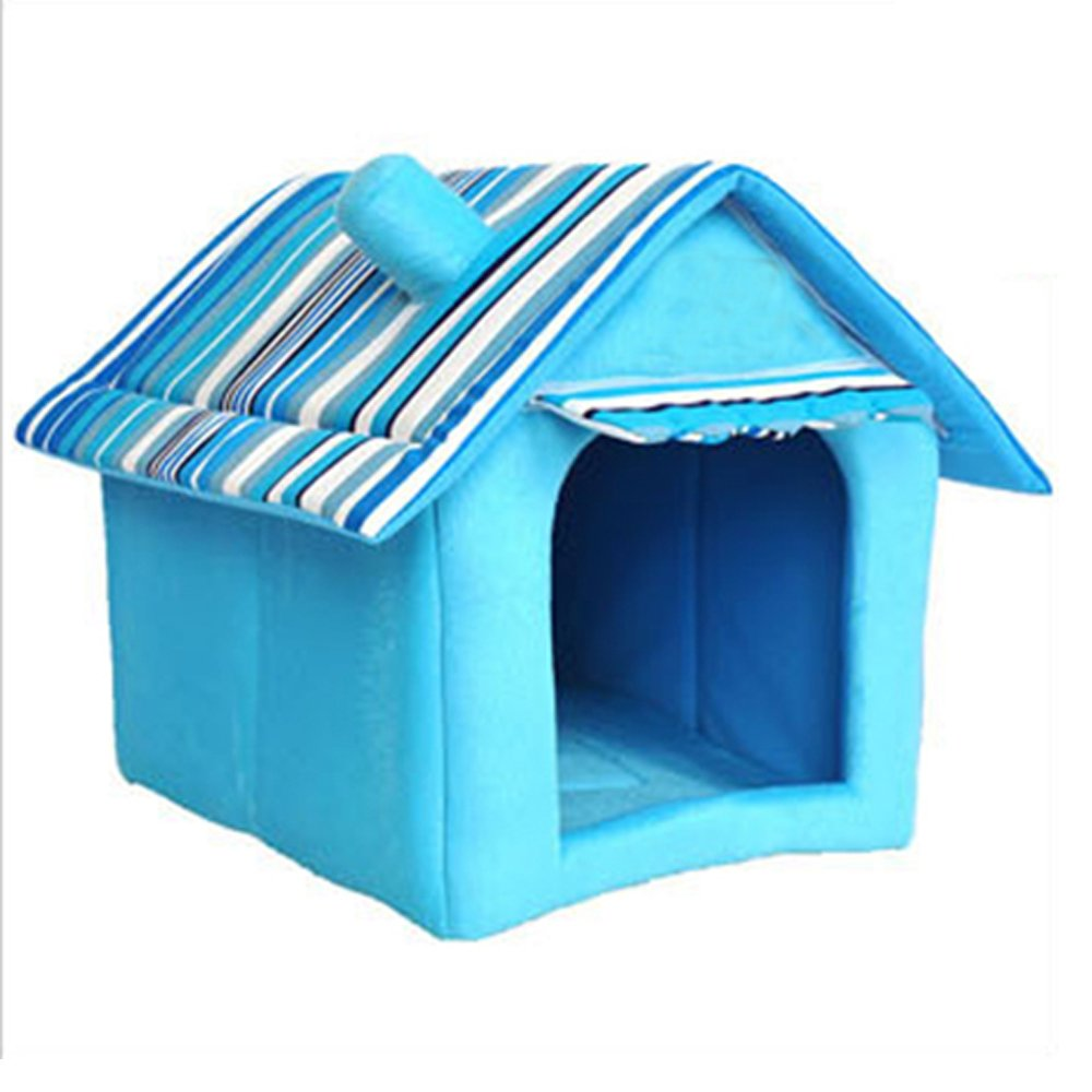 bluee Small bluee Small Pet House Portable Cotton Cats Room Pet Supplies Soft Dog House Bed (Small, bluee)