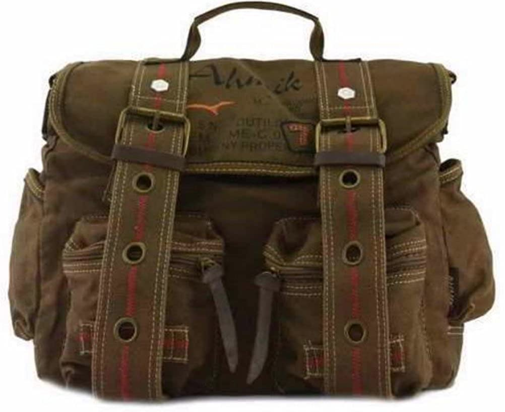 a681b28d7cee Amazon.com  Vintage Military Canvas Shoulder Laptop Bag Travell Well  Messenger Bags -Brown  Shoes