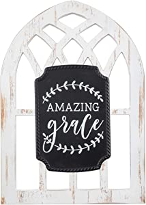 Brownlow Gifts Arched Window Sign Wall Décor, 11 x 15.5-Inch, Amazing Grace