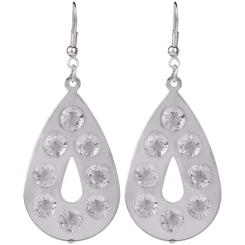 Efulgenz Rhodium Plated Hypoallergic Crystal CZ Cubic zirconia Geometric Tassel Dangle Drop Earrings Set of 3