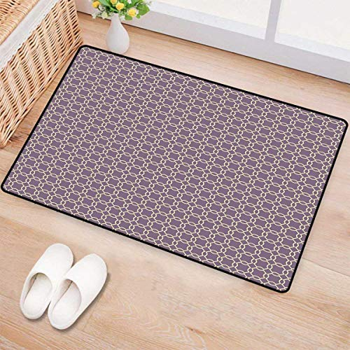 - Geometric,Bath Mat,Abstract Lines with Curvy Oval Shapes Traditional Chain Motifs Retro Style,Doormats for Inside Non Slip Backing,Pale Yellow Mauve 24