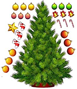 "Build a Christmas Tree Large Wall Decor Decal 36"" x 31"""