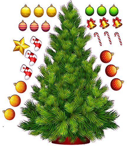 Funky christmas tree wall decals for Christmas wall art amazon