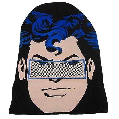 Amazon.com  DC Comics Mens Black Superman Beanie Stocking Cap Winter ... 997daf77246