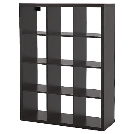 Ikea Scaffali In Legno.Ikea Kallax Libreria Scaffale Marrone Nero 112x147 Cm Amazon It