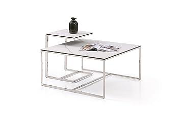 Massimilano 2x Beistelltisch Couchtisch Quadratisch Wohnzimmertisch Kaffetisch Satztisch Edelstahl Poliert Keramik Tischplatte Klein 40x40x52cm