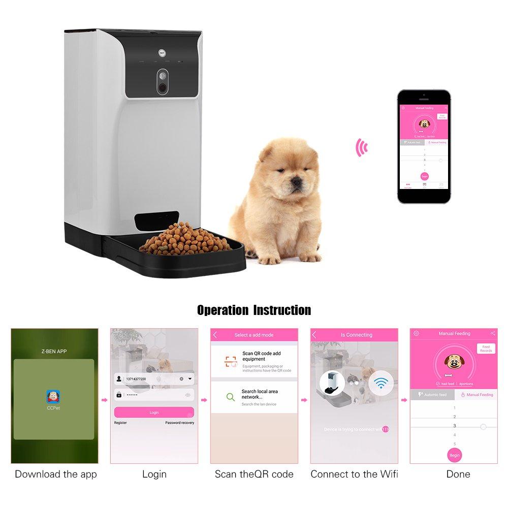 V.JUST App Alimentador Automático De Mascotas Dispensador De Alimentos para Gatos/Perros Almacenamiento 6L con Cámara Grabadora De Voz Conexión WiFi ...