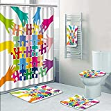 PRUNUSHOME Designer Bath Polyester 5-Piece Bathroom Set,team play with puzzle pieces social games mutual aid characters Print bathroom rugs shower curtain/rings and Both Towels(Large)