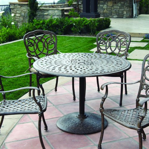 - Darlee Florence 5 Piece Cast Aluminum Patio Dining Set With Pedestal Table - Antique Bronze