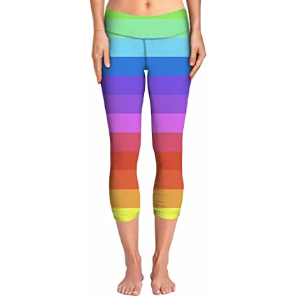 79ac339e2c66e1 Image Unavailable. Image not available for. Color: ROYP Rainbow Stripes  Yoga Pants