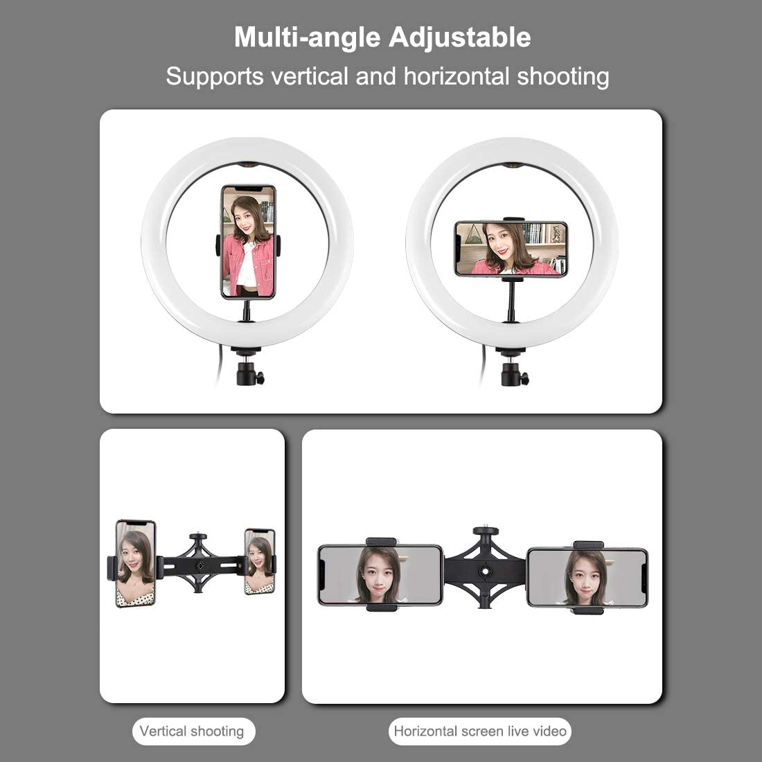 YouTube Video PULUZ Ring Light Kit Makeup 10.2 inch USB 3 Modes Dimmable Dual Phone Brackets LED Ring Vlogging Video Light Kits with 1.65m Adjustable Tripod Stand and Phone Clamp for Live Stream