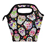 ALAZA Lunch Tote Bag Sugar Skull Flowers Rose Daisy Insulated Cooler Thermal Reusable Bag, Mexican Day Of The Dead Skull Love Heart Lunch Box Portable Handbag for Men Women Kids Boys Girls
