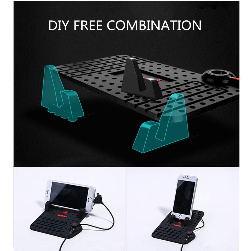 Black RC-FC1 8 REMAX Universal Car Charging Stand Mounts Phone Holder Bracket Strong Magnetic Adsorption for iPhone 6//7 X /& Android 2 in 1