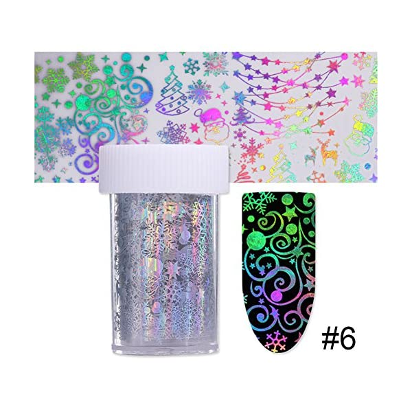 BORN PRETTY 10Rolls Nail Art Foil Sticker Holographic Laser Gradient Starry Sky Geometry Flower Manicuring Transfer… 8