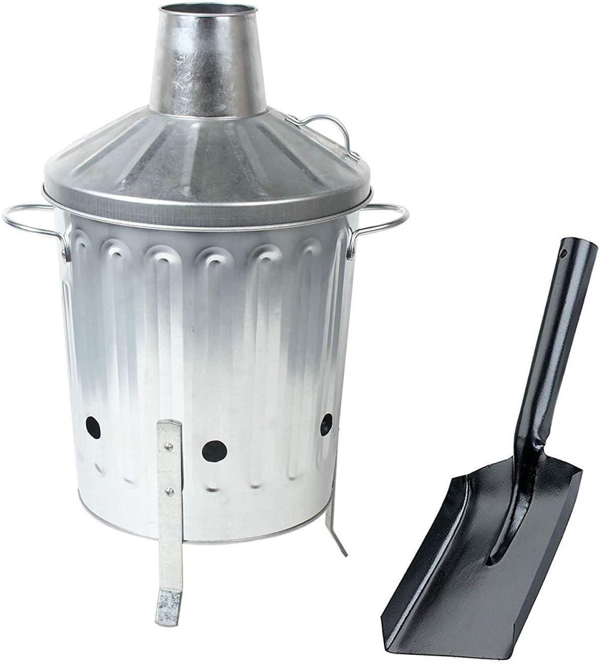 CrazyGadget® 15L 15 litros Metal galvanizado incinerador Mini jardín Fire Bin & cenizas pala para grabación de madera, hojas, papel etc: Amazon.es: Hogar