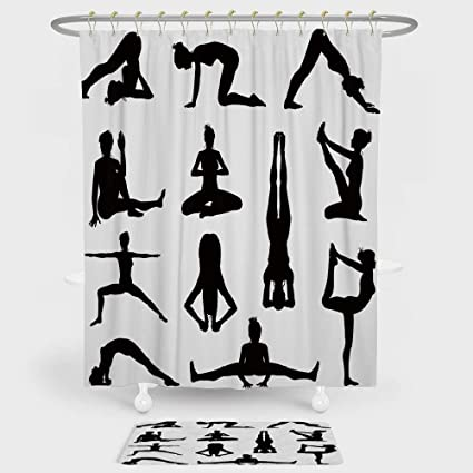 iPrint Yoga Shower Curtain Floor Mat Combination Set Various Yoga Pilates  Pose Silhouettes Asanas Prayanama Form def1e313c2a9e