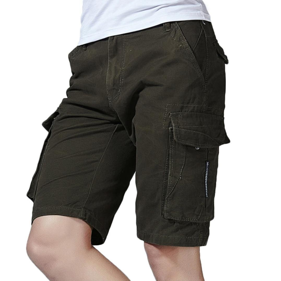 GREFER Men's Casual Pure Color Outdoors Pocket Beach Work Trouser Cargo Shorts Pant Army Green