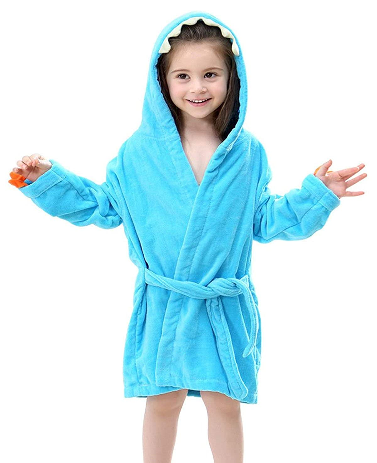 Girls Boys Toddler Robe, Kids Hooded Cotton Terry Dinosaur Bathrobe
