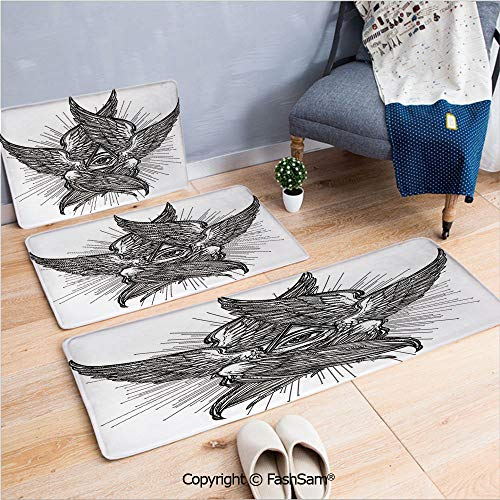 3 Piece Flannel Bath Carpet Non Slip All Seeing Eye of Providence Hand Drawn Vintage Style Winged Angel Seraphim Inspired Decorative Front Door Mats Rugs for Home(W15.7xL23.6 by W19.6xL31.5 by W31.4xL