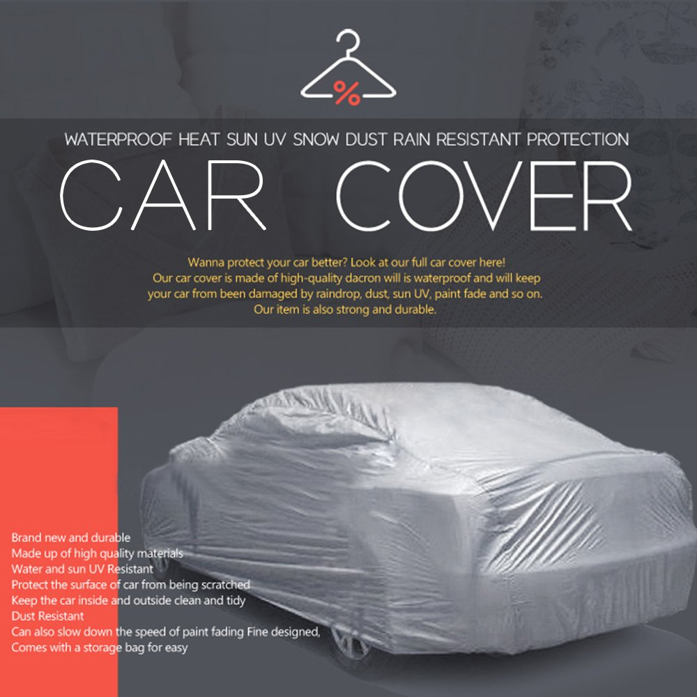 NOVSIGHT Car Cover Hatchback Car Protection Breathable UV Sun with Zipper Mirror Pocket Indoor 190T M 415x175x145CM