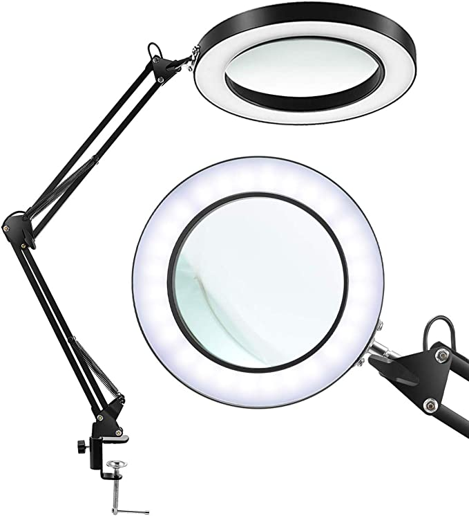 Bright Magnifier Lighted Lens Metal Swing Arm Magnifier Lamp with Dust Cover, Size : 20x ElectroOptix White Foldable LED Magnifying Glass Desk Lamp for Close Work