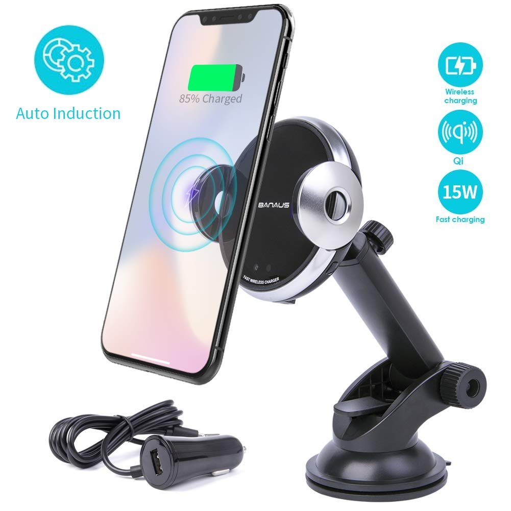 BANAUS 15W Automatic Clamping Wireless Car Charger Mount,Dashboard Cell Phone Holder,10W Compatible for Samsung Galaxy S10/S10+/S9/S9+/S8/S8+/Note9/8,7.5W Compatible for iPhone Xs Max/Xs/XR/X/8/8Plus