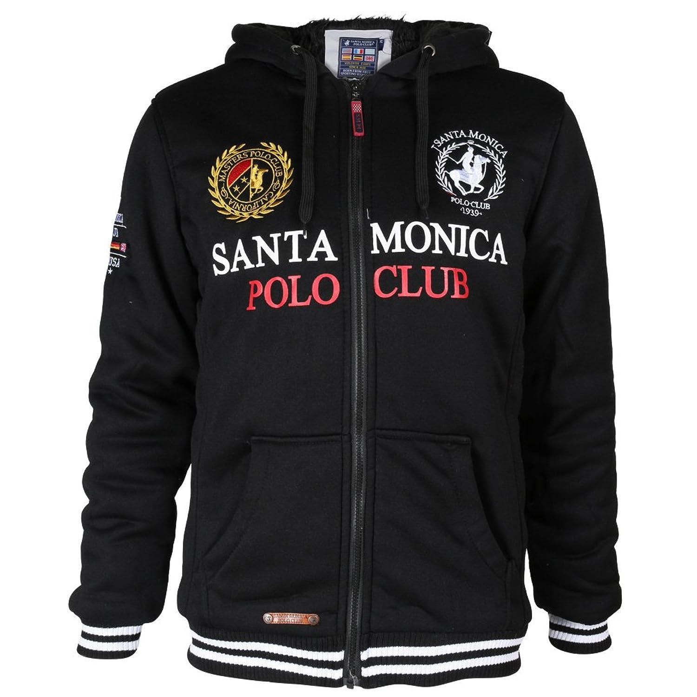 Mens Santa Monica Polo Club Faux Fur Lining Largo Drawstring Hoodie