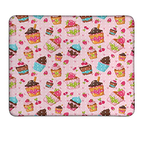 Pink slimline mouse pad Decorations for Kitchen Cafe Fun Cupcakes Muffins Strawberries and Cherries Printart deco mouse pad Light Pink and Brown