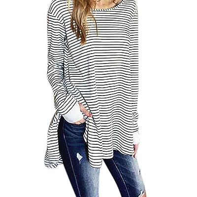Aurorax Women's Casual Plain Simple T-shirt Pullover Loose Dress Tops