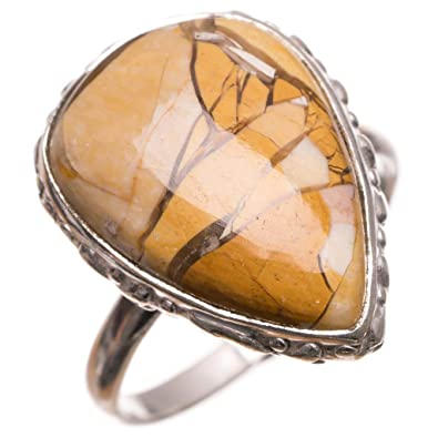 Natural Mookaite Gemstone Unique Jewelry Solid 925 Sterling Silver Ring Size 10