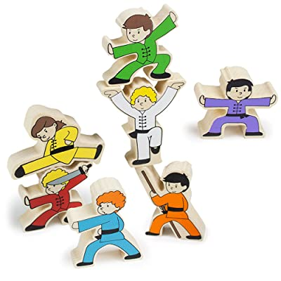 Imagination Generation Wooden Wonders Kung-Fu Stunt Stackers Balancing Game (7pcs): Toys & Games