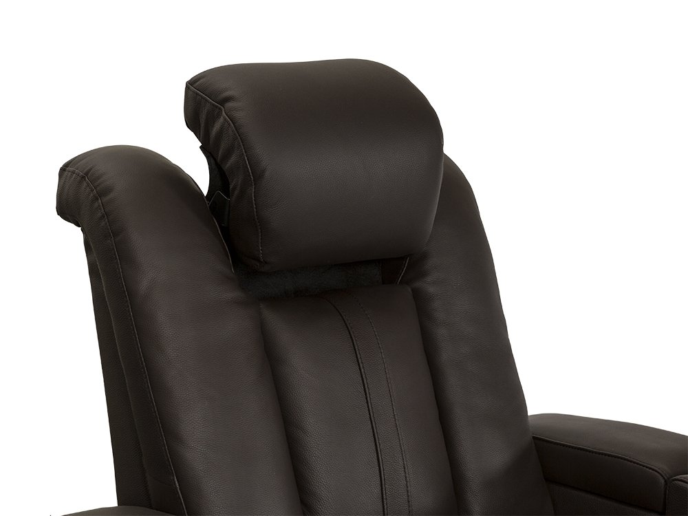 Seatcraft Monaco Leather Home Theater Seating Power Recline with Adjustable Powered Headrests and Built-In SoundShaker Row of 2, Brown