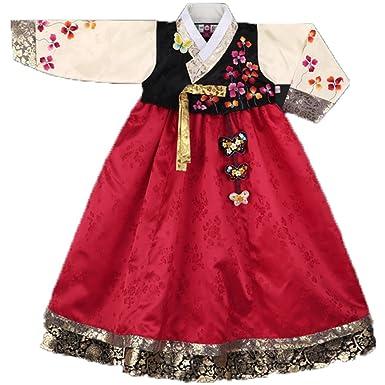 82c6dae65 Hanbok Girl Korea Traditional Dress Gold Coat Bright red skirt (SIZE 1  (85cm /