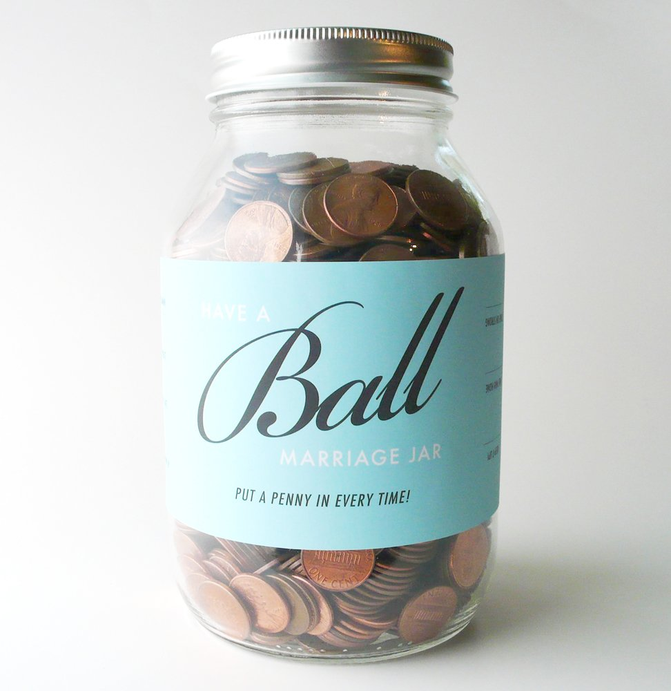 Oneupmanship Have a Ball Marriage Jar – The Best Wedding Gift Idea Ever – For the Fun, Cool Bride and Groom.