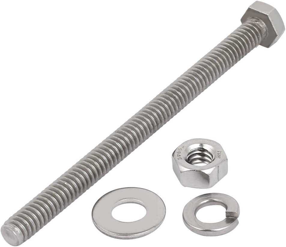 uxcell 2 Set 304 Stainless Steel 1//4 inches-20 Thread 3-1//2 inches Length Hex Bolt Kit w Washer Nut