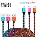 [Micro USB to USB Cable] [3-PACK]6.6 Feet Nylon Braided Fabric Micro USB Android cable Charging & Sync Data Charger Cable Cord for Android samsung and More (blue+rose+orange)