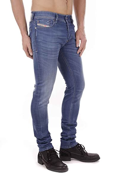 Diesel Sleenker 0R610_Stretch Jeans da uomo Pantaloni slim skinny (Blu,  W28/L34)