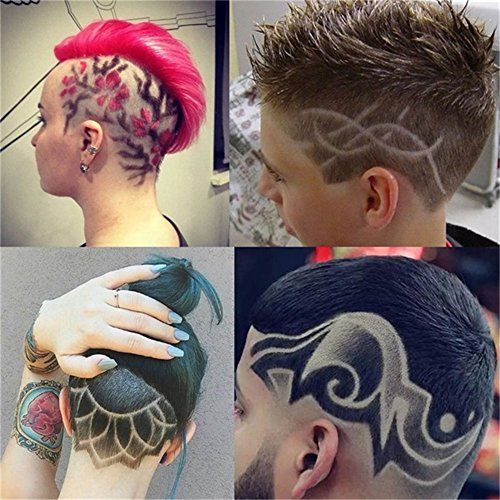 25 Pieces Clippers Tattoo Trimmer Fashion Hair Tattoo Template Carving Trimmer Tattoo Hair Clipper Accessories Hair Dye Accessories by hair Tattoo (Image #1)