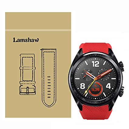 Lamshaw Classic Silicone Replacement Band for Huawei Watch GT Smartwatch (Red)