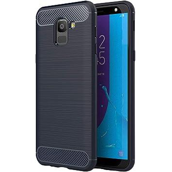 Coovertify Funda Shield Blue Carbon Samsung J6 2018, Carcasa Azul TPU Gel Silicona Flexible Efecto Fibra de Carbono para Samsung Galaxy J6 2018 (5,6