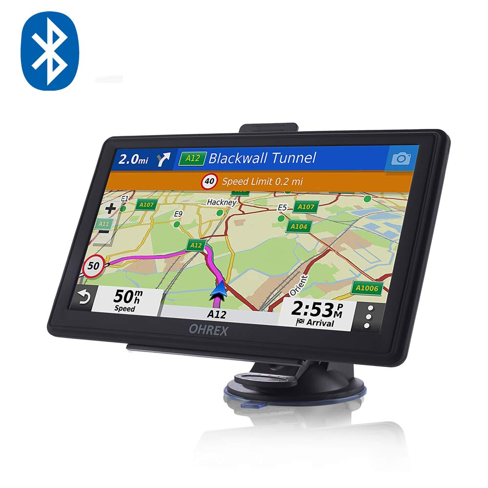 SAT NAVS GPS Navigation System, 7 inch Pre-loaded World Latest 2019 Maps  Lifetime Free Update For Car Truck/Lorry/HGV with Bluetooth AV-in POI  Search