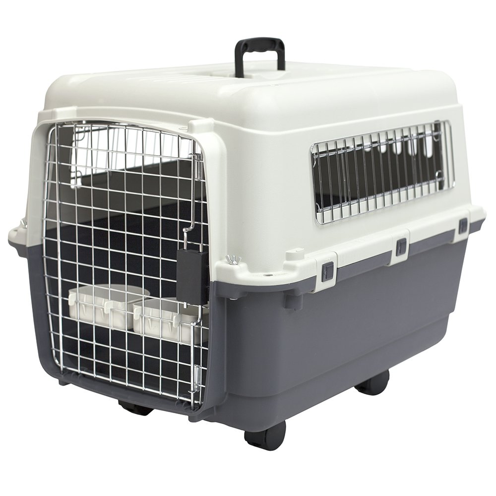 SportPet Designs Plastic Kennels Rolling Plastic Airline Approved Wire Door Travel Dog Crate, Medium by SportPet Designs (Image #1)