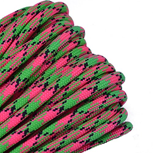 Bored Paracord - 1', 10', 25', 50', 100' Hanks & 250', 1000' Spools of Parachute 550 Cord Type III 7 Strand Paracord Well Over 300 Colors - Watermelon - 50 Feet