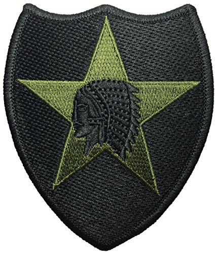 - 2nd Infantry US Army Indian Head Shoulder Applique Embroidered Sew on Iron on Sign Emblem Badge Patch - Black by Ranger Return (RR-IRON-02ND-DIVI-INDN-HEAD-BLCK)