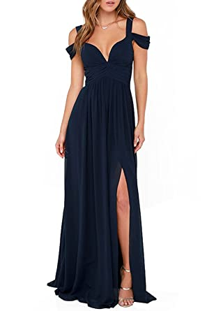 CLOCOLOR Womens Sexy Off-the-shoulder Split Navy Blue Prom Dresses Beach Dress,