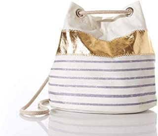 product image for Sea Bags Recycled Sail Cloth Grey Mariner Stripe Convertible Bucket Bag