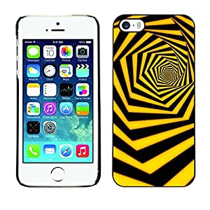 Soft Silicone Rubber Case Hard Cover Protective Accessory Compatible with Apple iPhone? 5 & 5S - black yellow hexahedron swirl