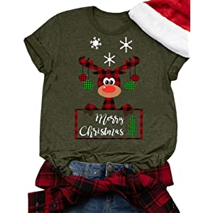 GHdggk Womens Christmas T Shirts Casual Short Sleeve Cute Elk Graphic Tops Tees